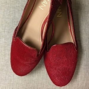 Deep red calf hair & sequins flats size 5.5M